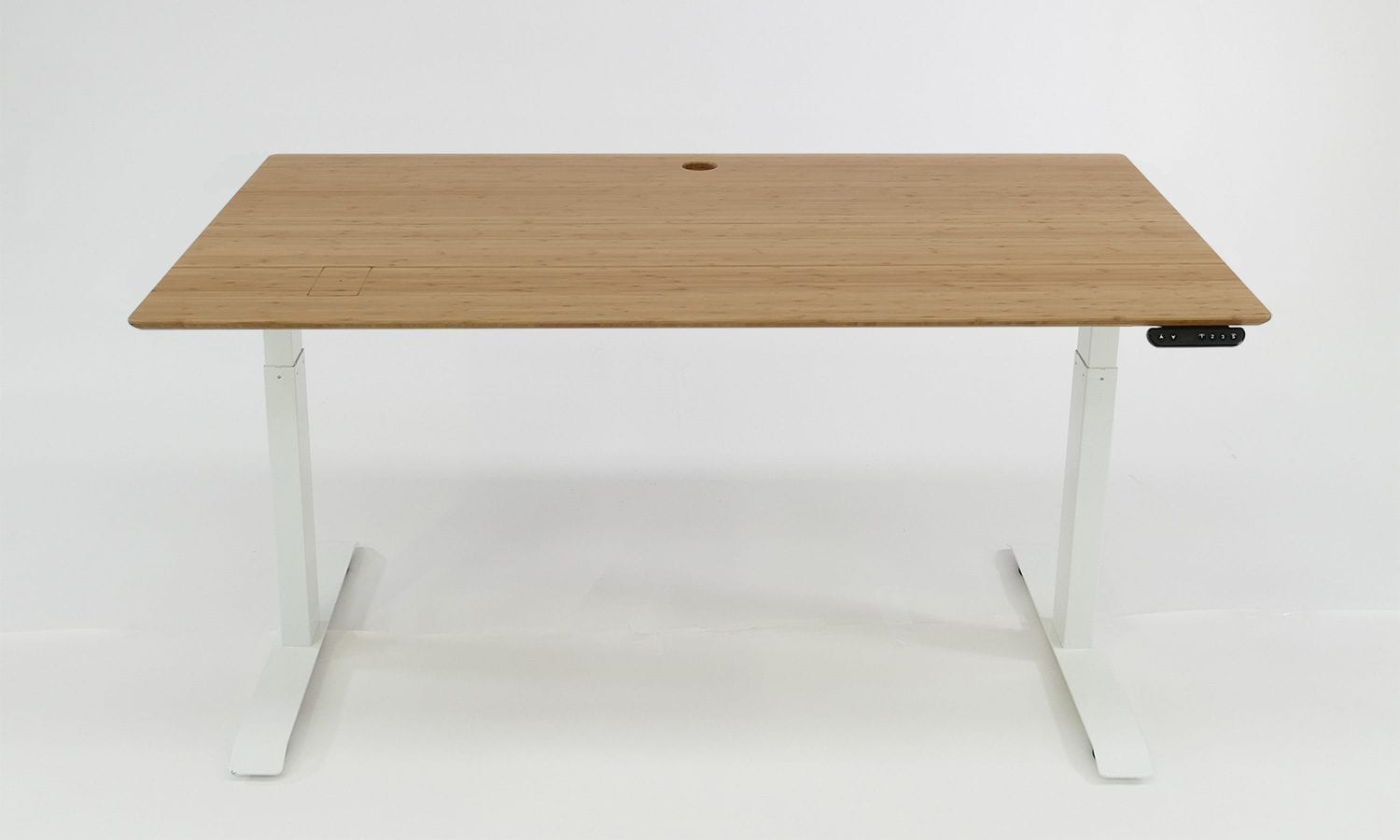 Stand Desk: mid brown bamboo desk top, white frame, 1500 x 800