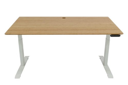 Stand Desk: Standing Desk 1500 x 800 - Mid Brown Bamboo - White Frame