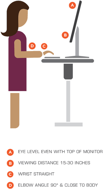 Standing desk standing height diagram