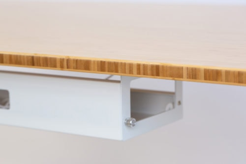 Standing Desk: 1200x700 - Mid Brown Bamboo - White Frame