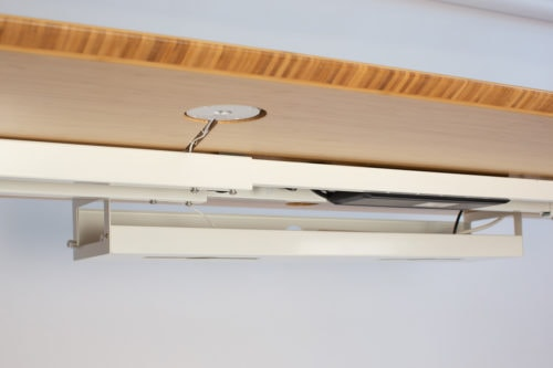 Under desk recessed cable channels & cable management tray