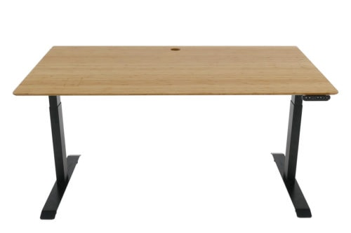Standing Desk: 1500x800 - Mid Brown Bamboo - Black Frame