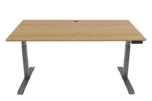 Standing Desk: 1500x800 - Mid Brown Bamboo - White Frame