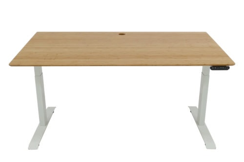Standing Desk: 1500x800 - Mid Brown Bamboo - White Frame