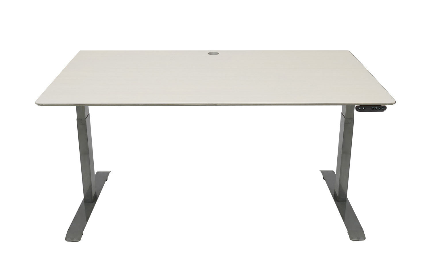 Standing Desk: 1500x800 - Whitewash Bamboo - Industrial Steel Frame