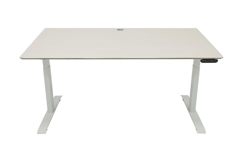 Standing Desk: 1500x800 - Whitewash Bamboo - White Frame