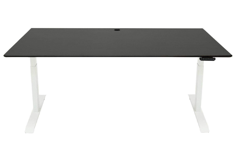 Standing Desk: 1800x800 - Blackwash Bamboo - White Frame